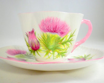 Shelley Tea Cup and Saucer, Scottish Cup, English Bone China Tea Cups, Ludlow Style, Thistle Cups, Antique Tea Cup