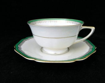 H & G Heinrich Ivory and Green, Tea Cup and Saucer, Bavaria Germany
