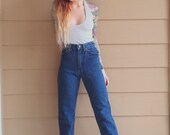 PERFECT FIT LEE Dark Denim High Waisted Straight Leg Classic Mom Jeans // Women's size xs 24 25