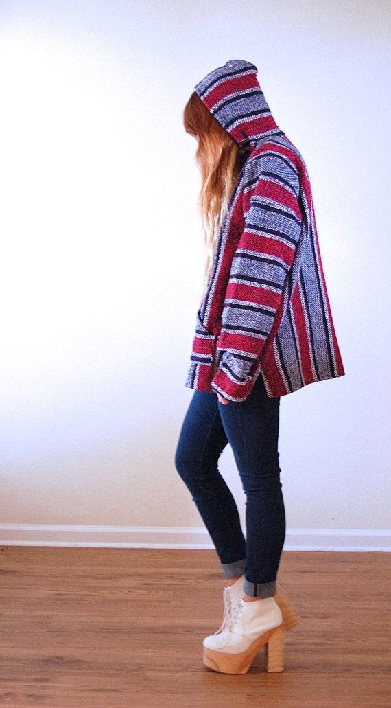 Oversized 90's Rasta Baja Mexican Blanket Pullover Grunge Hoodie ...