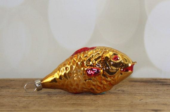 Czechoslovakia hand blown glass fish ornament mercury glass for Glass fish ornaments