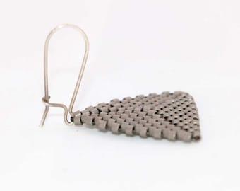 Triangle dangle earrings, Silver Light Miyuki Seed Bead Triangle Earrings, Weightless earrings, Silver Hook Earrings