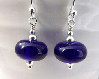 Sapphire blue glass earrings, sterling silver