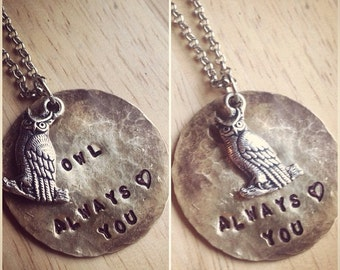 Valentine's Day Owl Always Love You Hand Stamped Necklace