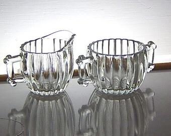 Vintage Jeanette Sugar Creamer Set Ribbed Heavy Glass.
