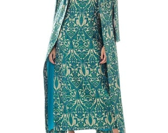 1960s Frederick  Nelson Seattle Brocade Print Jacquard Gown With Matching Coat Size: S-M