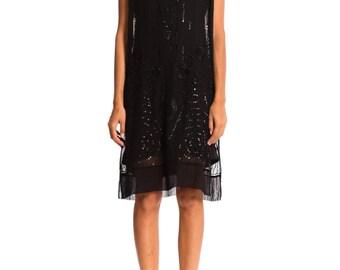 Vintage 1920s Sweet yet Dark Beaded Art Deco Dress   Size: S-M