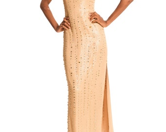 Vintage 1970s Halston Inspired Gold Gown Encrusted in Crystals with a Boned Bodice Size: XS