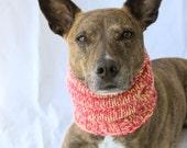 MEDIUM Basic Two-Tone SnugABull Dog Snood with Ribbed Collar & Ear Holes - Pink Lemonade
