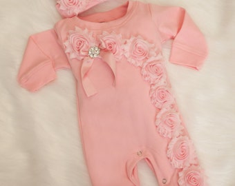 Pink Baby Girl Romper Set Infant One Piece Set with Shabby Chiffon Flowers and Hat