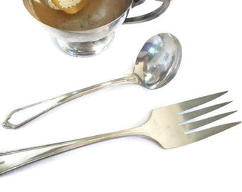 Vintage Flatware, Silver plate Serving Pieces, Meat Fork, Ladle, Shabby Cottage Dining Room