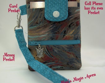 Cell Phone Wallet, Cross Body /Brown and Turquoise, Cell Phone Wallet / Ready to ship