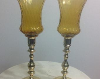 Vintage harvest gold candle holders