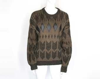 80s Geometric Grunge Sweater (L)