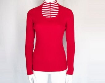 60s 70s ribbed mock neck sweater