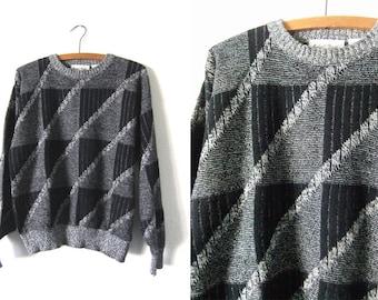 Charcoal Grey Geometric Minimalist Sweater - 90s Slouchy Fit Vintage Jumper - Mens Medium