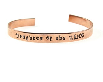 Daughter of the King Copper Engraved Cuff Bracelet Spiritual Christian Jewelry