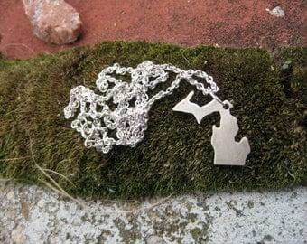 Michigan Necklace, Michigan Pendant, Sterling Silver Michigan, State of Michigan Necklace, Michigander Necklace, I love Michigan