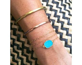 Turquoise Gold Bracelet / Wrap Bracelet / Stacking Bracelet / Layering / Native Stone Bracelet / Gift