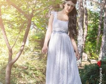 Wedding Dress, Bohemian Lace Wedding Dress, Long Wedding Dress, Gipsy Gown, Boho Wedding, White Wedding Dress, Handmade by SuzannaM Designs