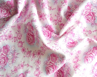 pink roses fabric french floral fabric vintage fabric patchwork fabric antique fabric  pink roses french fabric shabby chic 171