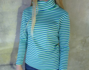 Made in U.S.A Vintage Turtleneck, 1960's Mod Knit Polyester, Blue Green White Stripes