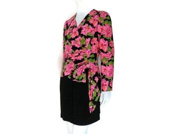 Carolina Herrera Floral Silk Dress Neon Pink Orchids with Tight Black Skirt sz 8
