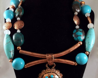 Magnesite, Turquoise, Vintage Frosted Glass 'Southwest Flair Blues'