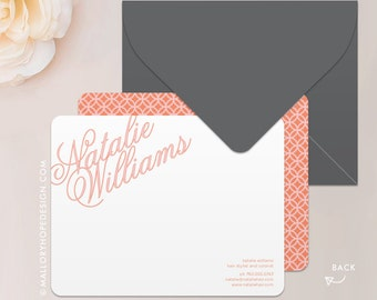 Elegant Name Stationery Set, Note Card, Thank You Card with Envelope - Customize with Name or Monogram