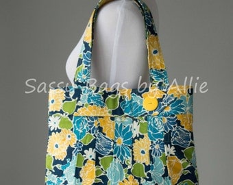 Floral Print Pleated Purse-Gold/Yellow, Blue, and Green-Large Pleated Shoulder Bag