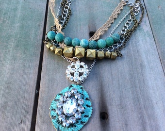 Stands in Patina/Statement Necklace/Victorian/Edwardian/Mixed Metal
