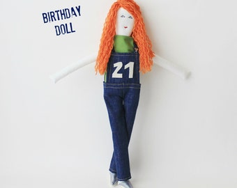 Birthday cloth doll, personalized anniversary fabric doll, custom birth age stuffed doll, upcycled mini-me doll, unique birthday gift