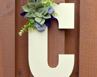 Wooden Letter - Felt Succulent - Initial - Floral Arrangement - Door Hanger - Wall Hanging - Home Decor