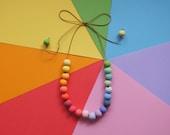 Rainbow Polymer Clay Beaded Necklace - Adjustable Length, Handmade Beads