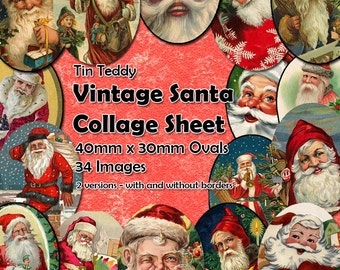 Vintage Santa Printable Digital Collage Sheet  - 40mm x 30mm ovals  - 34 different images - perfect for jewelry making etc