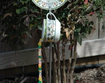 Flower Vines Cup & Saucer Hand Strung Wind Chime Suncatcher for Outdoor Garden Decor
