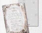 WHITE & SILVER winter onederland first birthday invitation rustic wood One-derland little snowflake  winter wonderland snow much fun