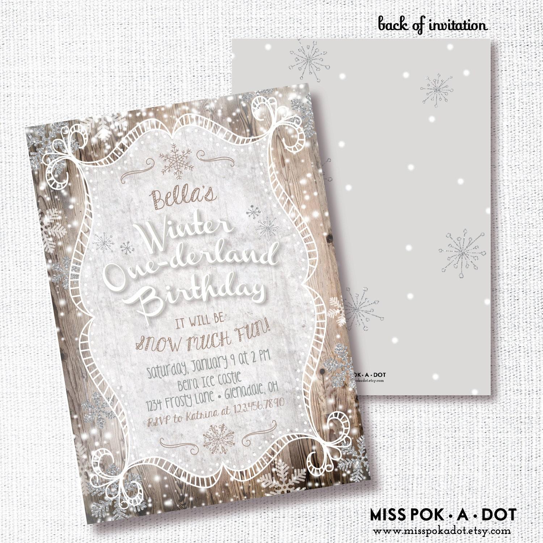 Winter Onederland 1st Birthday Invitation Printable White