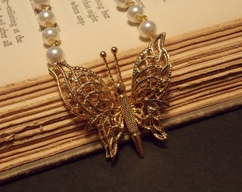 Vintage Inspired Gold Butterfly Necklace