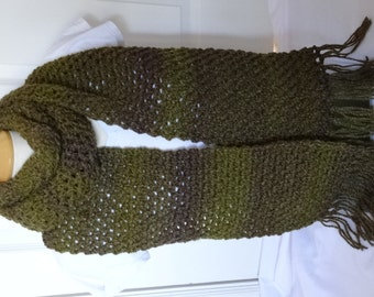 Crochet Extra Long Scarf in Dark Green - Ready to Ship