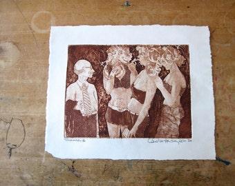 Vintage Art Print, Smokers, Carol M. Hershey, 1980, Sepia Artwork, Vintage Drawing, Vintage Art, Wall Decor, Wall Art, Illustration, Sketch