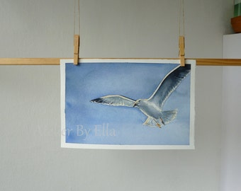 Flying Seagull, Original watercolor painting, Nautical wall art, Seagull flying in sky