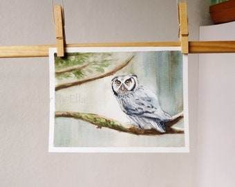 Woodland Owl ,original watercolor painting,8 x 6 in , children room nursery wall art