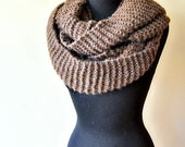FREE SHIPPING !! oversized chunky knit infinity scarf/shawl in white soft wool, wide and long, warm and elegant, for women and girls, UNIQUE