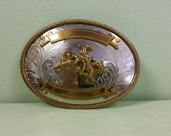 Vintage Cowboy Belt Buckle - Bull Rider - Justin Nickel Silver Buckle -