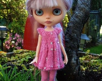 Blythe Doll Knitted Sequin Top - Bubblegum Pink