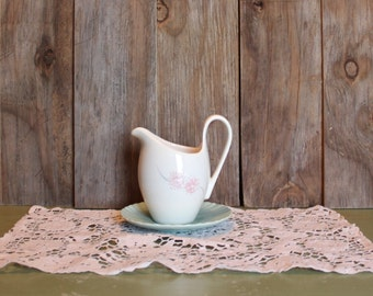 Shabby Chic Creamer Ceramic Pitcher Vase Flowers Home Decor Made in USA Vintage 1960s 60s (L)