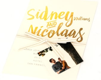 Gold Ombre Wedding Invitations - Fresh and Modern Calligraphy Wedding Invitation (Sidney Suite)
