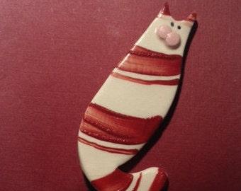 Vintage Handmade Cat Brooch Pin