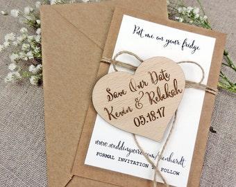 Custom Save The Date Magnet, Save The Date Magnet, Rustic Wedding Favor, Personalised Wooden Wedding Gift,  Bridal Shower Favor, Kraft paper